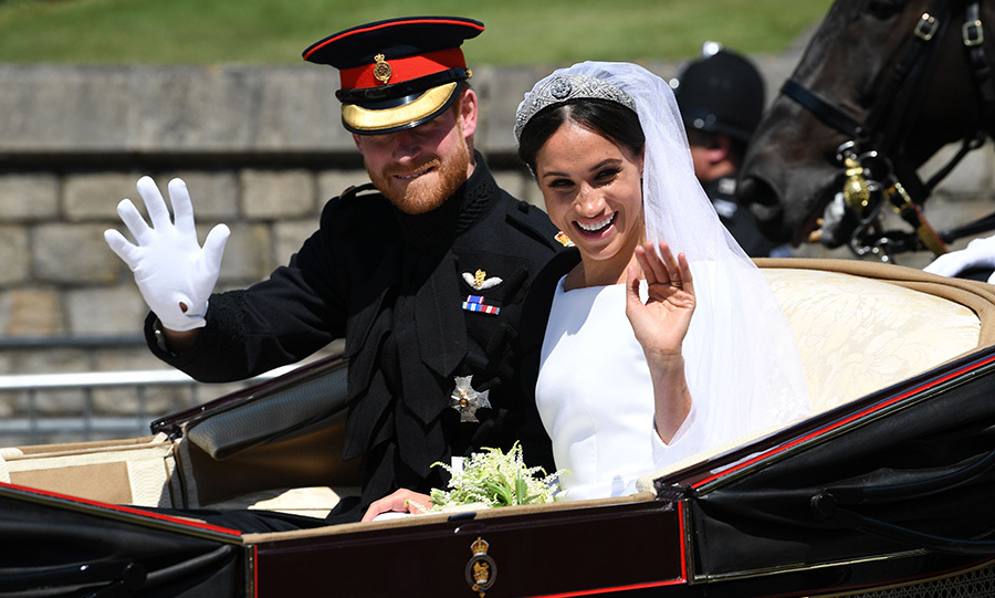 Prince Harry and Meghan rode through  Windsor in the Ascot Landau carriage following their nuptials.