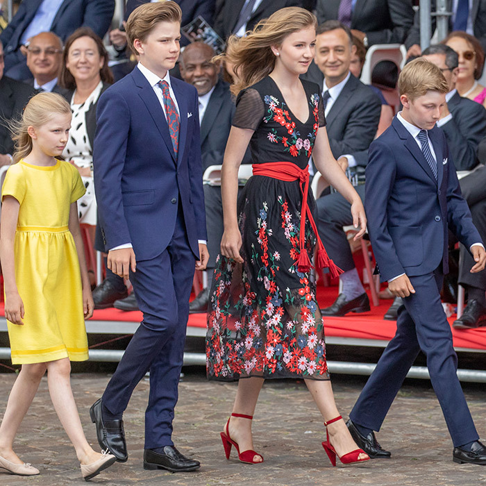 Princess Eleonore, Prince Gabriel, Princess Elisabeth and Prince Emmanuel arrived in style at the National day Parade on July 21 in Belgium.