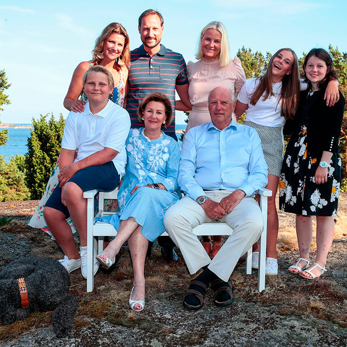 Crown Prince Haakon of Norway celebrated his 45th birthday with his family, posing alongside Princess Martha Louise, Crown Princess Mette-Marit, Princess Ingrid Alexandra, Maud Angelica Behn, Prince Sverre Magnus, Queen Sonja and King Harald V in Norway.