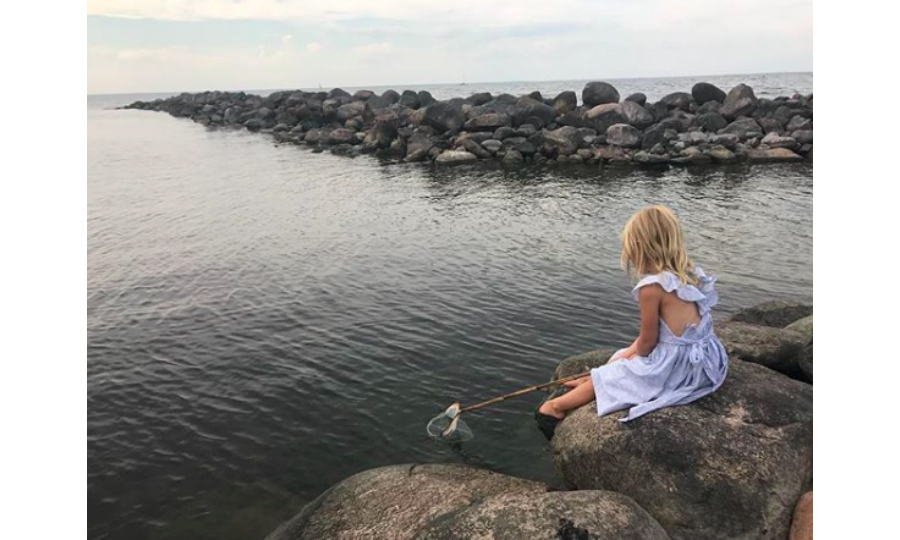 """Patiently waiting,"" wrote Princess Madeleine of Sweden alongside this sweet snap of her daughter fishing. The picture is one of many that the mother of three has shared of her children on her new official Instagram account. 