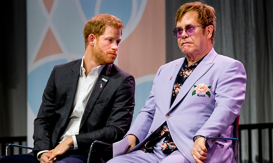 The dynamic duo took a moment to chat on stage. His usual colourful self, Sir Elton John dazzled in a lilac suit and floral shirt, while Harry stuck to his usual white button-up and suit jacket.