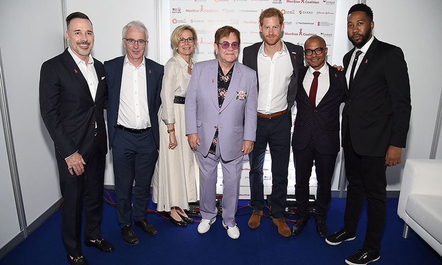 EJAF chairman David Furnish, Global Fund executive director Peter Sands, ambassador Deborah L. Birx, U.S. Global AIDS coordinator & U.S. special representative for Global Health Diplomacy Sir Elton John, Prince Harry, director of operations Robert Matiru, UNITAID's Director of Operations Ndaba Mandela posed for a photo.