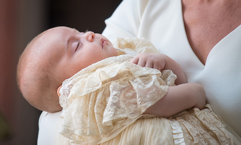 Prince Louis looked serene as he slept in his mother's arms as the Cambridges arrived for his baptism. Fans delighted in seeing how much the little one had grown since his first official portraits were released at the beginning of May 2018. 