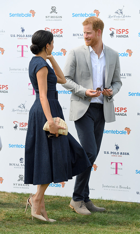 Harry and Meghan chatted animatedly as they arrived at the Royal County of Berkshire Polo Club on Thursday (July 24). 