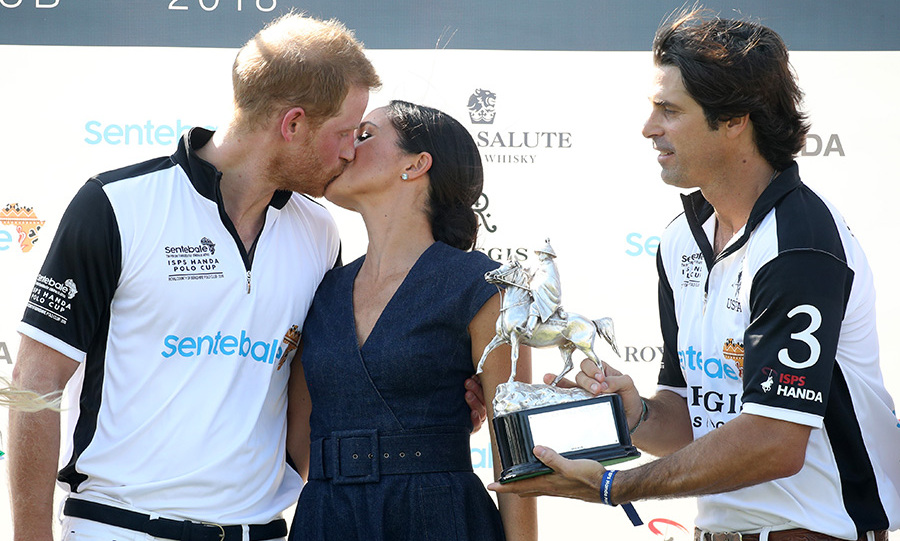 Meghan planted a sweet smooch on her husband after his team won the trophy at the Sentebale Polo Cup, a touching moment reminiscent of all the times his mother, the late Princess Diana, did the same for his father Prince Charles.