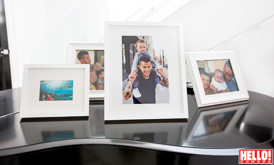 Photos of Jacopo and Alma can be found throughout the home, including on the baby grand piano. 