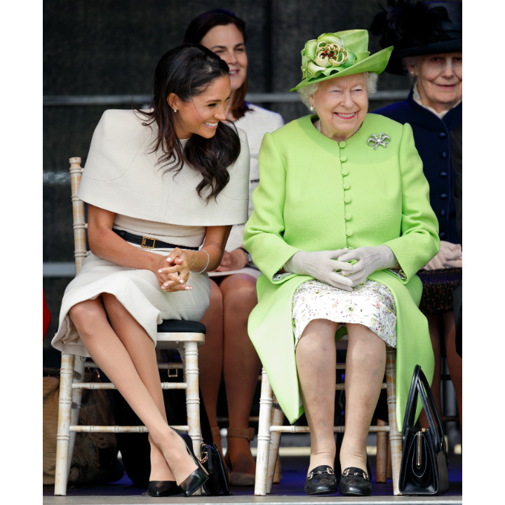 The Queen and Meghan giggled their way through their first official joint engagement together in June 2018. The monarch invited Prince Harry's new bridge to join her on a day of activities in Cheshire, and after Meghan got a coveted seat on the royal train, the duo carried out a series of appearances that included a lively performance by a children's choir. 