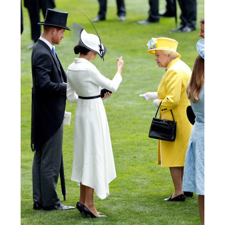 <p>The Duchess of Sussex made her Royal Ascot debut in June 2018, joining Prince Harry and the Queen in the Royal Enclosure. Meghan and Her Majesty were spotted in deep conversation, perhaps chatting about their picks for the winner's circle.</p> 