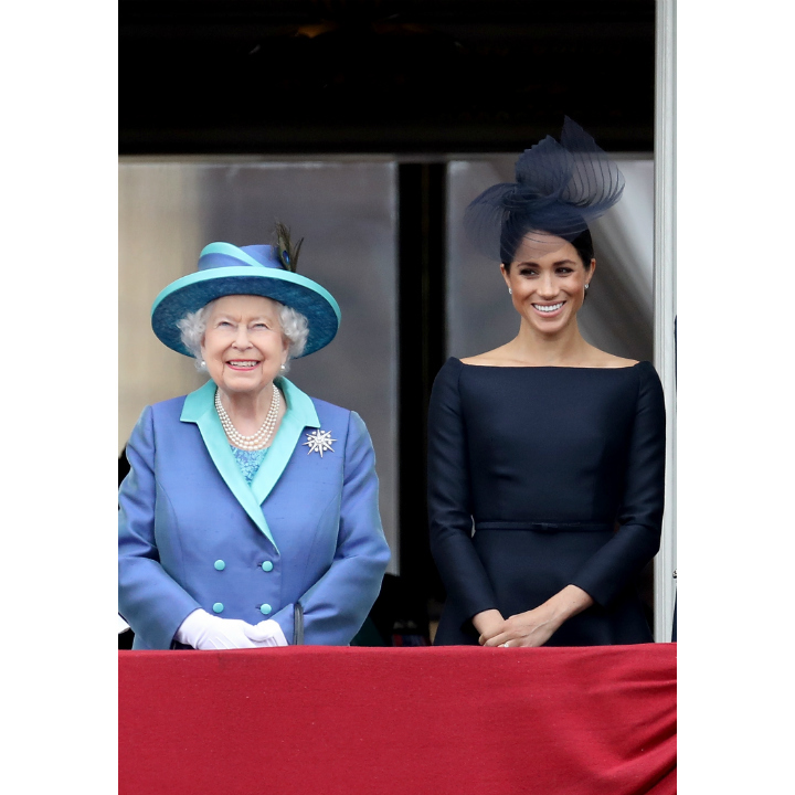 The dynamic duo was all smiles as they watched 100 RAF planes take part in the air show, which was also enjoyed by thousands of royal fans lining the Mall. 