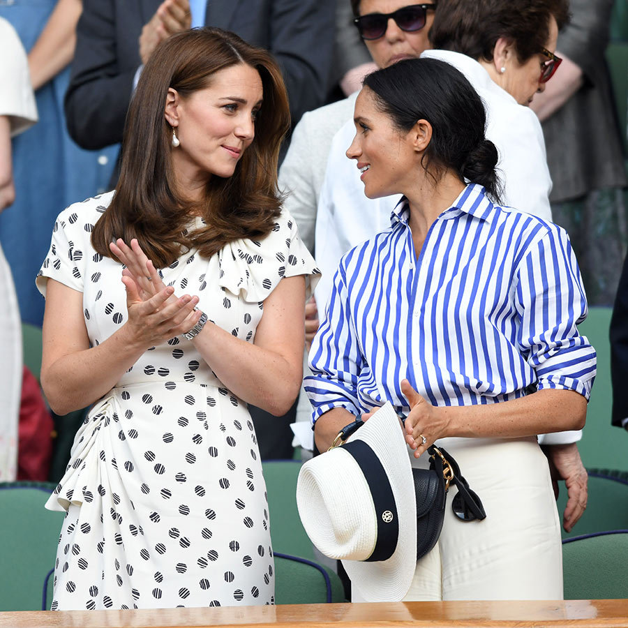 Kate and Meghan had a duchesses' day out at Wimbledon on July 14, where they watched the former actress's good friend Serena Williams play in the women's singles final. The royals showed off their personal style, Kate in a polka dot dress and Meghan in a striped button-up with cream wide-leg trousers.