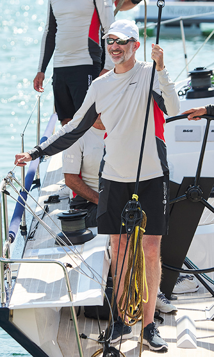 King Felipe of Spain was spotted soaking up the sun on board of the Aifos at the Royal Nautic Club during the 37th Copa del Rey Mapfre Sailing Cup on Aug. 1.
