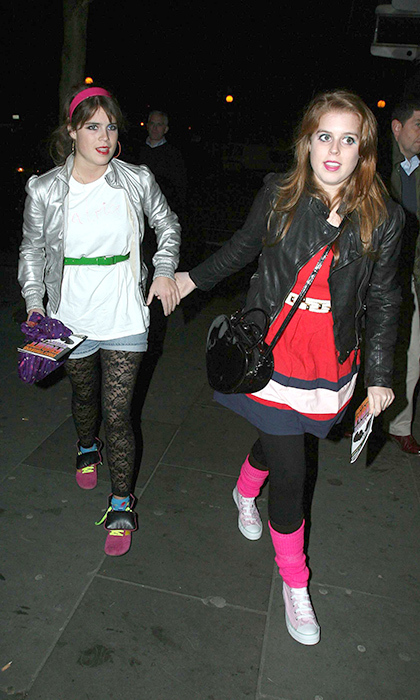 The princesses donned their whackiest looks for a costume party in London in 2008. The pre-Christmas charity bash was eighties themed, giving Beatrice a great excuse to bust out her baby-pink converse. 