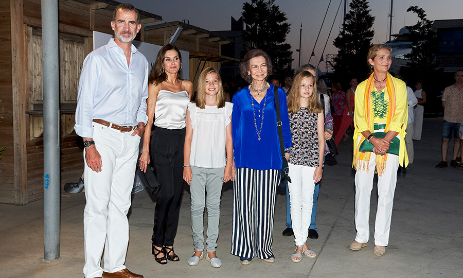 The Spanish Royal Family were soaking up the sun in Mallorca, and looking super fashionable while doing it! King Felipe, Queen Letizia, Princess Sofia, Queen Sofia, Princess Leonor caught up with Greece's Princess Irene and Princess Elena at the Ara Malikian concert on Aug. 1.