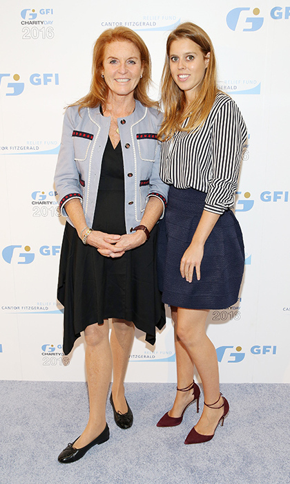 Beatrice attended the annual Charity Day hosted by Cantor Fitzgerald, BGC and GFI on September 12, 2016 alongside her mom, the Duchess of York. Both stylish women chose to wear business casual pieces - the princess in a blue bubble skirt, striped button-up shirt and burgundy pumps and Sarah in a black asymmetrical dress, blue jacket and ballet flats.