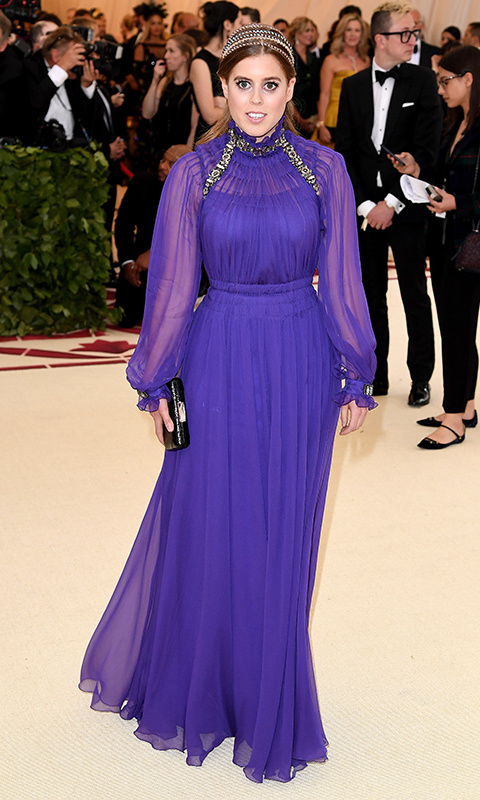 The first royal to attend the Met Gala in two decades, Beatrice pulled out all the stops on May 7, 2018 in a Grecian-inspired purple gown by Alberta Ferretti. A Kotur clutch and multi-band gold headpiece finished off the ethereal look!