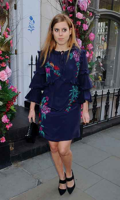 Beatice attended the opening of the Beulah London flagship store in May 2018 wearing a pretty, navy embroidered mini dress with black accessories.