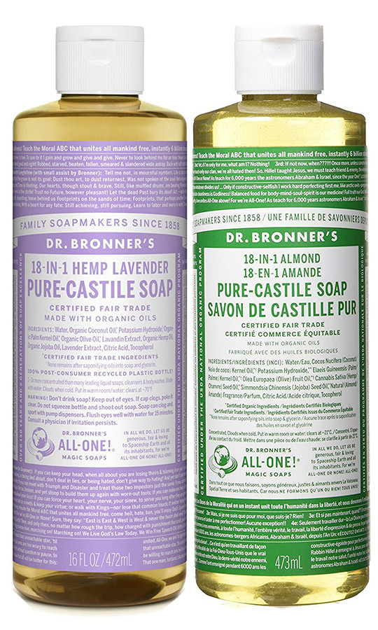 "<strong>Dr. Bronner's Magic Soap Organic Lavender Oil Pure Castile Soap Liquid</strong>, $13.99 and <strong>Dr. Bronner's Organic Oil Pure Castile Soap Liquid, Almond</strong>, $16.77, <a href=""amazon.ca"" target=""_blank"">amazon.ca</a><br>