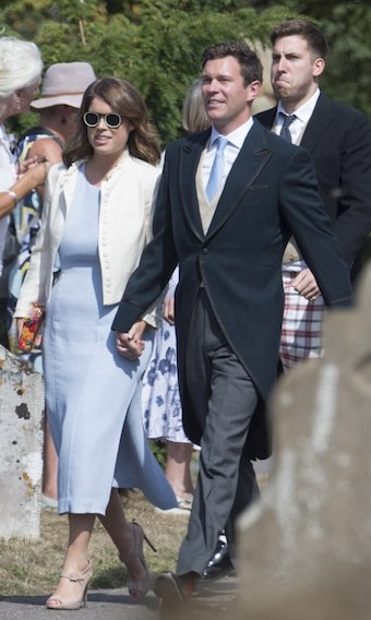 As they gear up for their own wedding on Oct. 12, Princess Eugenie and Jack Brooksbank made a fashionable appearance at Charlie van Straubenzee's wedding. Ever the fashion maven, Eugenie wore a pastel blue dress, nude pumps, a white coat and very fashion-forward sunnies. Her fiancé was dapper in his morning coat for the special day.