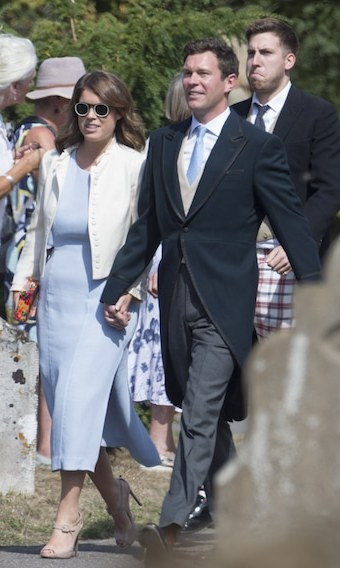 As they gear up for their own wedding on Oct. 12, Princess Eugenie and Jack Brooksbank made a fashionable appearance at the wedding, too.