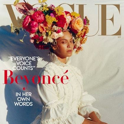 "Beyoncé's <em>Vogue</em> cover was officially released on Monday (Aug. 6)! In one of the cover photos, the singer stunned in a beautiful white Gucci dress and an ornate floral headpiece. The cover, the first of <em>Vogue</em> that was ever shot by a black photographer, reads ""everyone's voice counts.""