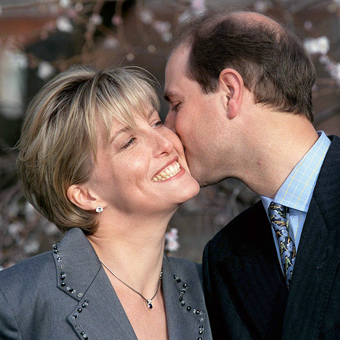 Sophie Rhys-jones, now the Countess of Wessex, got a tender kiss from Prince Edward on their engagement day in 1999. 