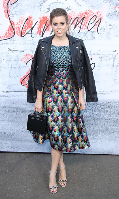Princess Beatrice wore a peacock-print dress by Mary Katrantzou and an edgy leather jacket from Aritzia at the Serpentine Summer Party in June 2018.