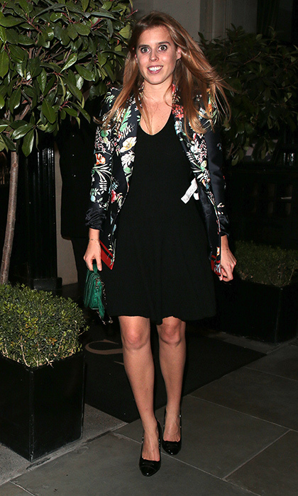Another gorgeous print for Princess Beatrice! The royal paired an LBD with a patterned blazer for a night out on the town in London in 2017.