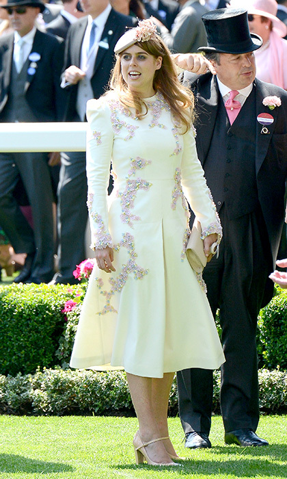For day one of Royal Ascot in 2017, Prince Andrew's eldest slipped into a heavily beaded cream confection, which she paired with a matching hat.