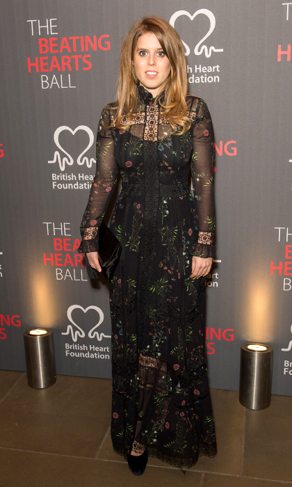 The royal was in full bloom wearing a sheer floral gown with a camisole underneath at the Beating Hearts Ball in London, which she attended with her mom Sarah in Feb. 2018.