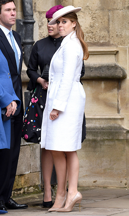 The newly minted fashion icon was a vision in white for Easter services in Windsor in April 2018, wearing a textured coat dress, nude patent pumps and an angled boater-style hat.