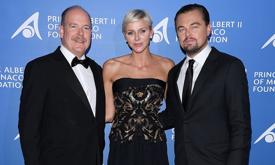 Prince Albert and Princess Charlene posed with Leonardo DiCaprio at the 2017 gala. 