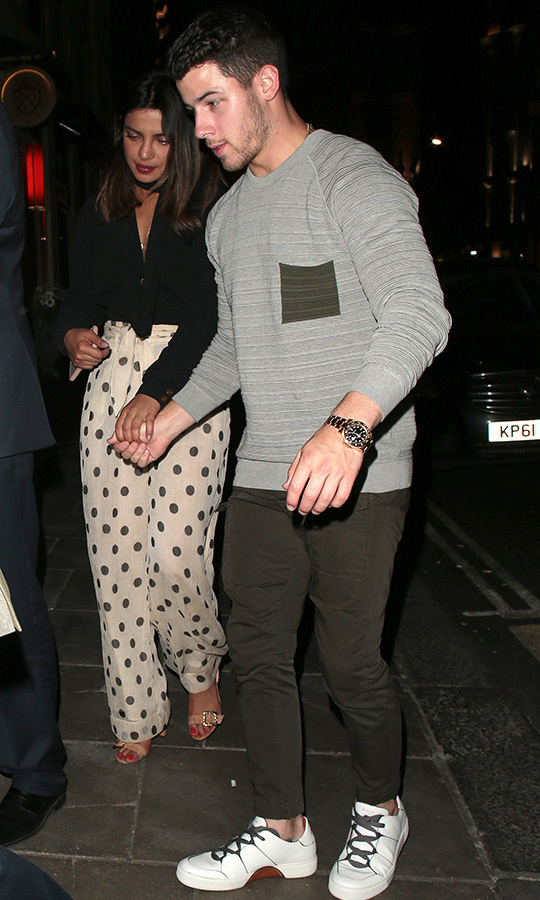 "Time to hire a wedding planner! Nick seemed to have confirmed his engagement to Priyanka at a John Varvatos X Nick Jonas event on Aug. 8. According to <em><a href=""https://www.usmagazine.com/celebrity-news/news/nick-jonas-thanks-fan-who-congratulates-him-on-engagement/"" target=""_blank"">Us Weekly</a></em>, when a fellow partygoer congratulated the ""Chains"" singer on the exciting news, he replied ""Thanks, man."" While his bride-to-be wasn't on hand at the party celebrating his scent collaboration with the fashion brand, she did post a photo of the bottle on Instagram with the caption, ""Fragrance makes us dream."" Dreaming of wedding venues and white gowns, perhaps? 