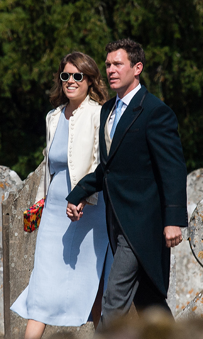 Nearly newlyweds Princess Eugenie and Jack Brooksbank enjoyed a loved-up day out to attend the wedding of Charlie Van Straubenzee on Aug. 4. Her typical stylish self, the princess wore a powder-blue Whistles dress, a cream Topshop blazer, Mr. Boho sunnies and a floral clutch.