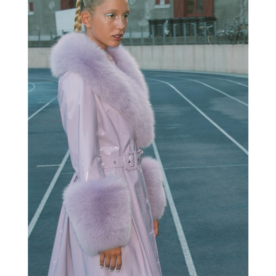 Princess Olympia of Greece and Denmark took to the runway at Copenhagen Fashion Week, where she modelled the bridal look for Saks Potts. She then wore one of the brand's furry patent-leather coats in this chic Instagram shot, posted on Aug. 13. 