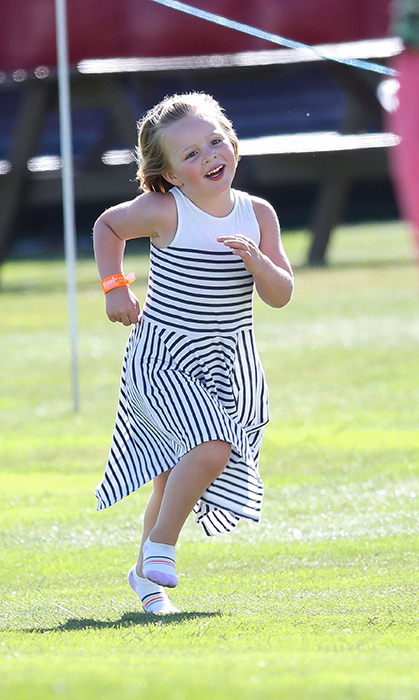 The little girl was full of energy during the 2018 'Celebrity Cup' at Celtic Manor Resort on June 30.