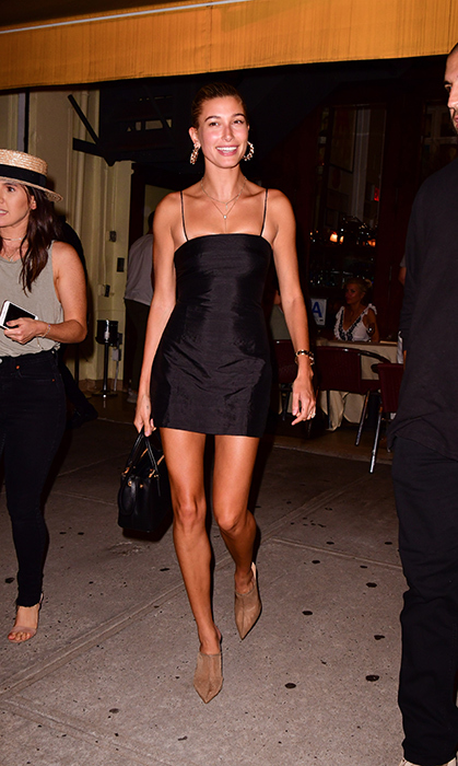 Hailey Baldwin dusted off her best little black dress for a dinner date with friends at Cipriani in New York City.