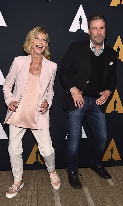 Olivia Newton-John and John Travolta showed off their best dance moves at the <em>Grease</em> (1978) 40th anniversary party.