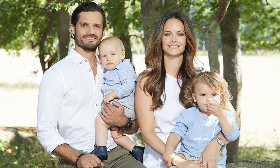 Prince Carl Philip and Princess Sofia shared the sweetest family photo on their joint Instagram account. Matching in crisp white cotton, the Swedish royal couple held both of their sons – Prince Alexander, 2, and 11-month-old Prince Gabriel. The caption reads: "