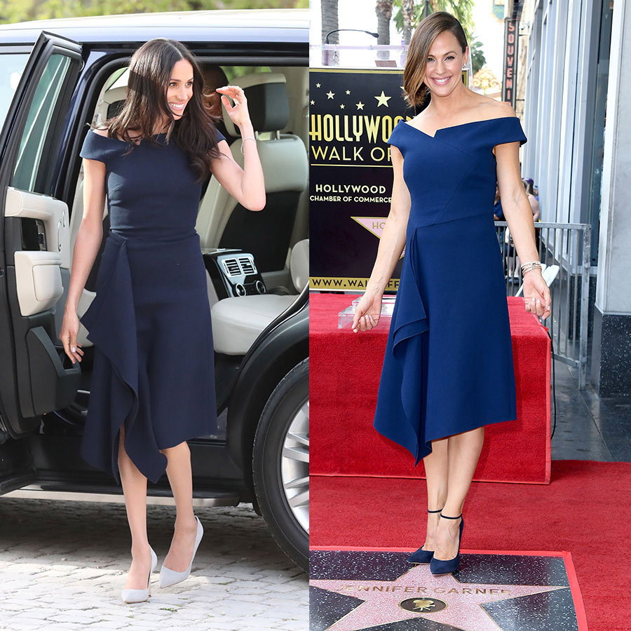 Jennifer Garner got her star on the Hollywood Walk of Fame in Aug. 2018, dressing for the occasion in a stunning blue asymmetrical dress with ruffled detailing down the front and a bardot neckline. If you recognized the number, it's because Meghan Markle wore her friend Roland Mouret's design in navy on her wedding night when she arrived at Cliveden House with her mom, Doria Ragland. Both looked gorgeous in the design, which Jennifer wore with navy pumps while Meghan opted for a lighter-hued shoe.