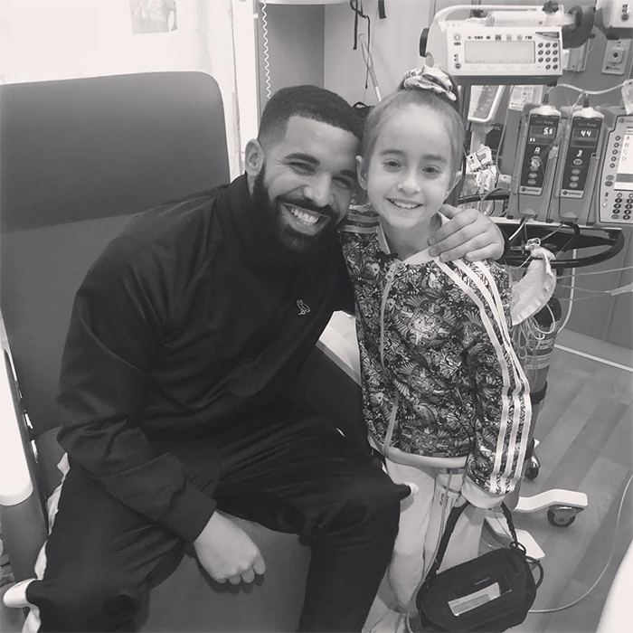 "Canadian favourite Drake showed off his big heart after granting a wish for a young girl in Chicago. After the Anne & Robert H Lurie Children's Hospital shared an adorable video of their patient Sofia Sanchez, 11, dancing to Drake's new track ""In My Feelings,"" the musician made her dreams come true by paying a visit while he was in the city for a show. He shared an adorable black-and-white photo of the two showing off their huge smiles, captioning it: ""Me and my love Sofia talking about Bieber and Owls and Basketball"". In another photo he posted right after, the little girl wears a baseball hat with ""scorpion"" – the name of his latest studio album – written on it. Dreams really do come true!