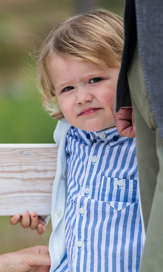 The curious boy showed off a fresh haircut for his first-ever royal engagement.