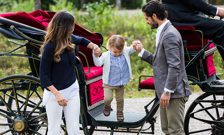 With a little help from mom and dad, Prince Alexander hopped right off the horse-drawn carriage that he arrived in with his parents. His little brother, 11-month-old Prince Gabriel, stayed at home.