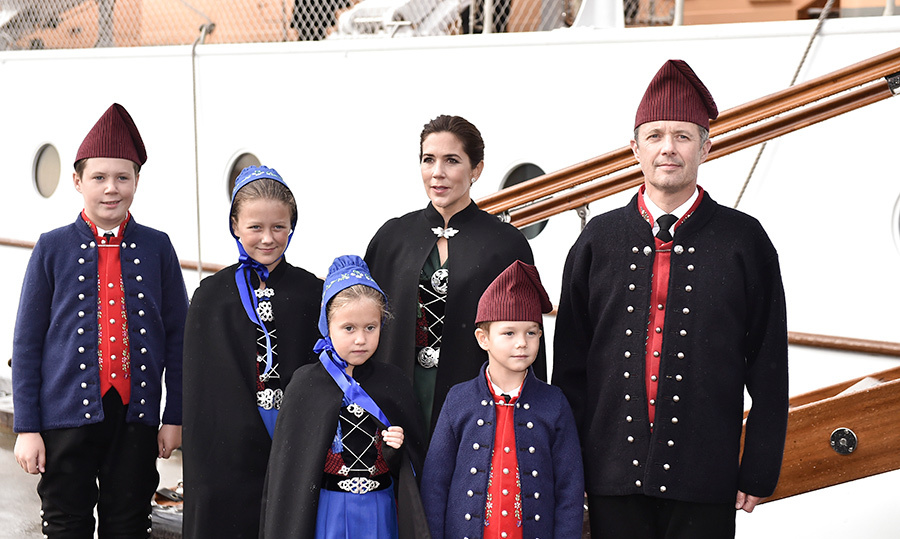Prince Frederik, Princess Mary of Denmark and their four children – Prince Christian, Princess Isabella, Prince Vincent and Princess Josephine – dusted off theri cultural garb for a visit to the Royal Ship at the Faroe Islands in Tórshavn.