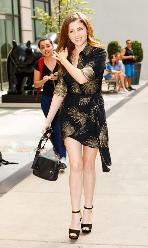 Anna Kendrick showed off her megawatt smile and amazing fashion sense while out in New York City to promote her new film <em>A Simple Favor</em>.