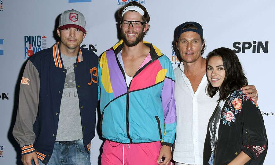 The stars stepped out at the event to support LA Dodgers player Clayton Kershaw, who slipped into his '80s finest for the annual tournament, which benefits at-risk neighbourhoods and children through his Kershaw's Challenge charity.