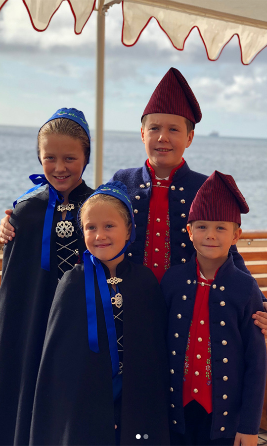 Prince Christian, who is second-in-line to the Danish throne, posed with sister Princess Isabella and twins Princess Josephine and Prince Vincent. The foursome looked sweet wearing the national clothing of the Faroe Islands while cruising on the King Ship Dannebrog. 