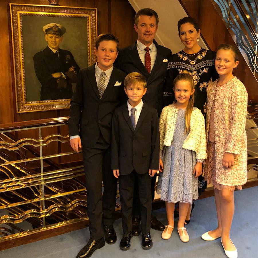Prince Frederik, Princess Mary and their four children dressed to impress for a glitzy reception on the royal yacht King Dannebrog in the captial Tórshavn on Aug. 25.