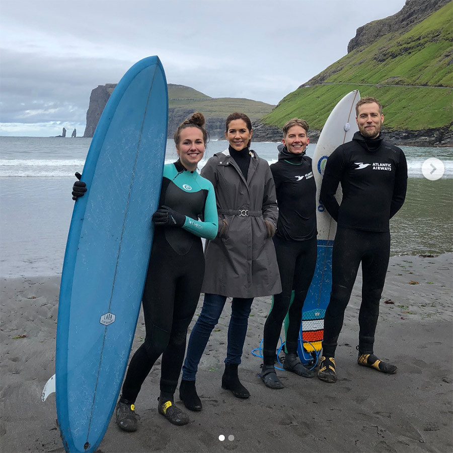 Princess Mary was all smiles as she posed with local surfers near Tjørnuvík.