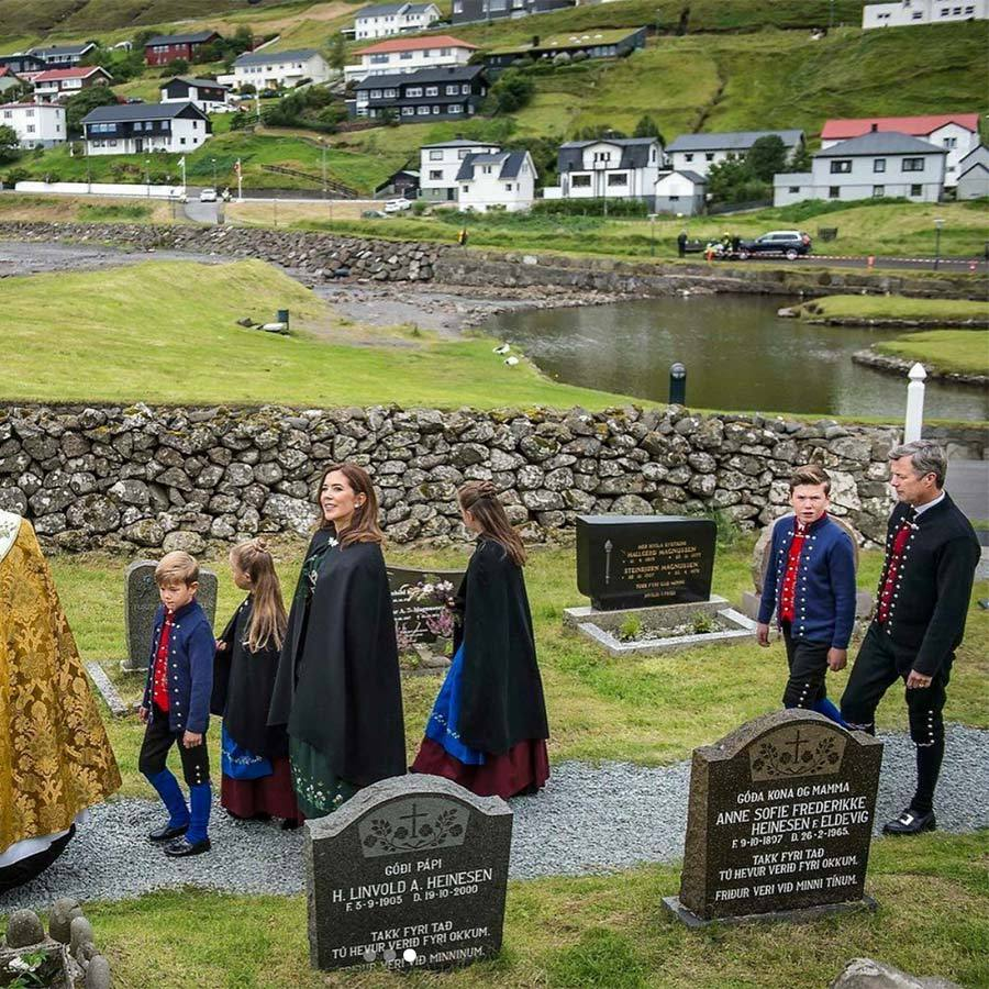 The Bishop of the Faroe Islands, Jogvan Fredriksson, led the family to the little village church in Sandavigi for a service on the final day of their tour.