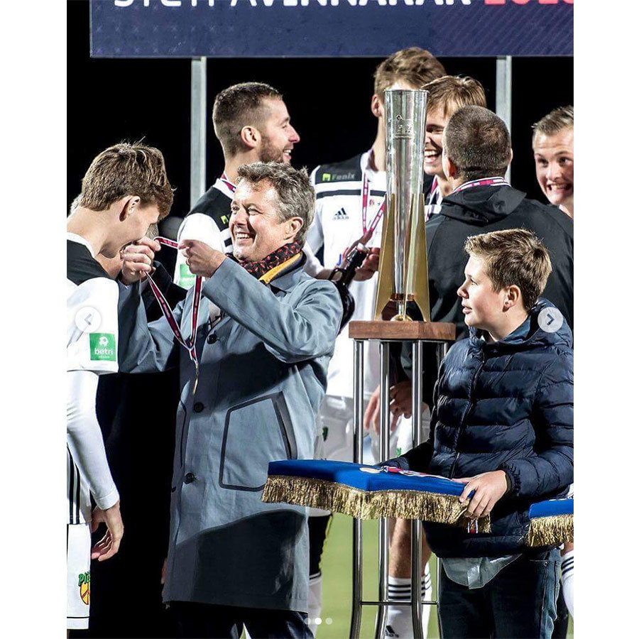 Prince Frederik had a special outing with his eldest son on the evening of Aug. 25 at the Faroese Cup final. The pair presented the trophy to B36 Tórshavn after they defeated HB Tórshavn in a penalty shootout.